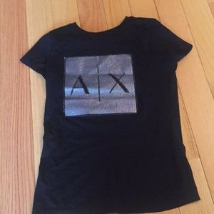 a black tee from Armani exchange
